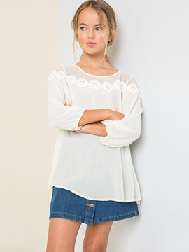 Ericdress Hollow See-Through Chiffon Nine Points Sleeves Girls Shirt
