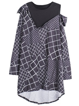 Ericdress Plaid Double-Layer Oversized Blouse