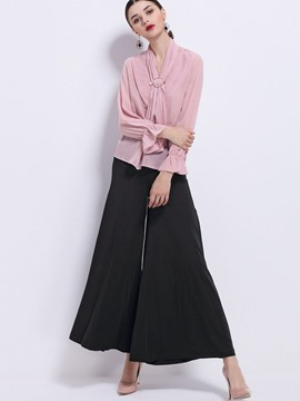 Ericdress Sishot Chiffon Long Sleeves Wide Legs Suit