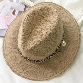 Ericdress Pearl Brooch Decorated Beach Sun Straw Hat