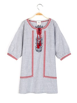 Ericdress Stripe Lace-Up Loose Cotton Girls Shirt