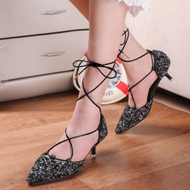 Ericdress Glitter Sequins Cross Strap Stiletto Sandals