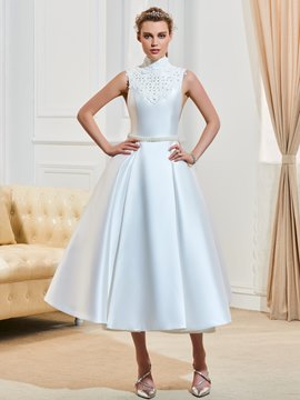 Ericdress High Neck Pearls Tea Length A Line Reception Wedding Dress