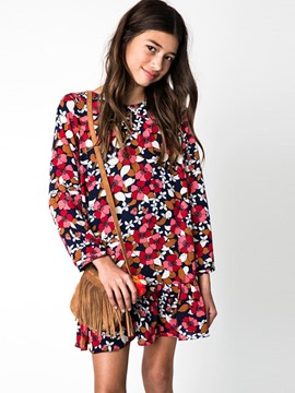 Ericdress Spring Floral Ruffles Pullover A-Line Dress
