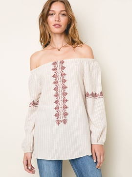 Ericdress Slash Neck Embroidery Blouse
