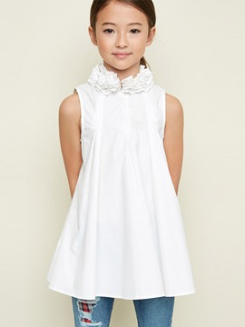 Ericdress Ruffles Pleated Stand Collar Sleeveless Girls Shirt