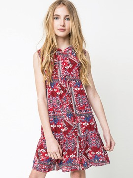 Ericdress Bohemian Floral Bowknot Pullover A-Line Dress