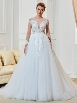 Ericdress Bateau Long Sleeves A Line Wedding Dress