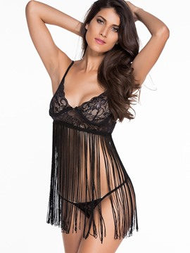 Ericdress Black Tassel Cut-Out Babydoll