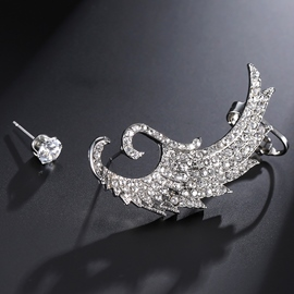 Ericdress Asymmetric Diamante Wing Alloy Charming Earrings