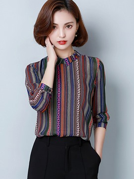 Ericdress Ethnic Stripe Long Sleeve Blouse