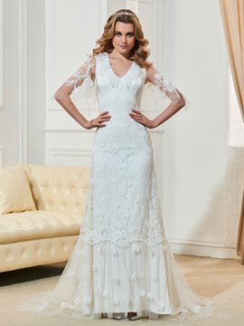 Ericdress Fancy V Neck Half Sleeves Mermaid Lace Wedding Dress