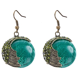 Ericdress Bohemian Round Green Glass Pendant Earrings