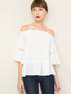Ericdress White Slash Neck Hollow Blouse