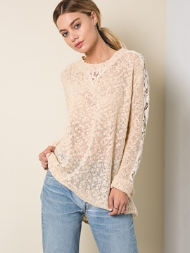 Ericdress Lace Hollow Long Sleeve Knitwear