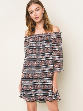 Ericdress Bohemian Slash Neck Print Casual Dress
