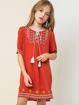 Ericdress Ethnic Print Lantern Sleeve Dress