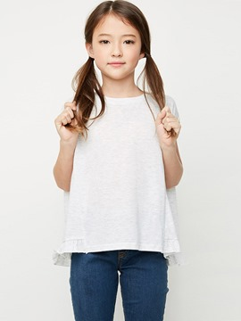 Ericdress Plain Ruffles Loose Sleeveless Girls T-Shirt