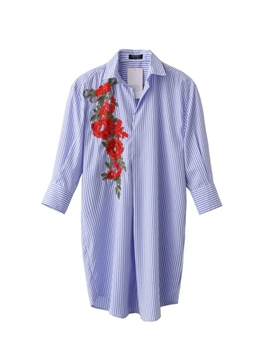 Ericdress Blue Stripe Floral Embroidery Blouse