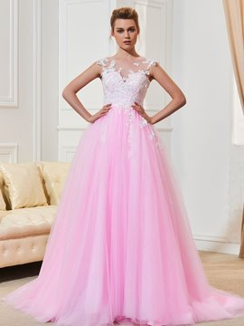 Ericdress Scoop Appliques A Line Pink Wedding Dress
