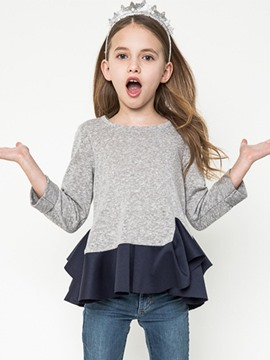 Ericdress Simple Ruffle Long Sleeve Girls T-Shirt