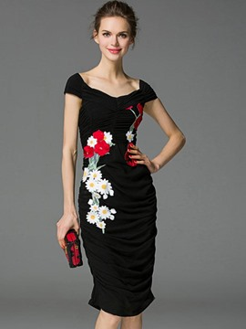 Ericdress Elegant Embroidery Floral Pleated Sheath Dress