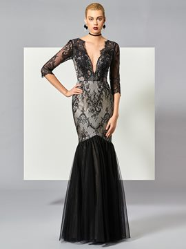 Ericdress Charming Mermaid 3/4 Sleeve Deep Neck Lace Evening Dress