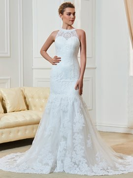 Ericdress Jewel Sleeves Lace Mermaid Wedding Dress