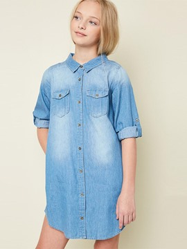 Ericdress Plain Pocket Button Lapel Mid-Length Girls Shirt