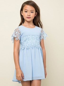 Ericdress Lace Patchwork Plain Short Sleeve Dress
