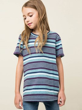 Ericdress Stripe Scoop Loose Cotton Girls T-Shirt