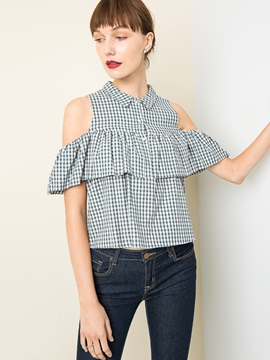 Ericdress Lapel Plaid Off-Shoulder Blouse