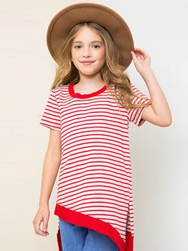 Ericdress Stripe Asymmetric Patchwork Girls T-Shirt