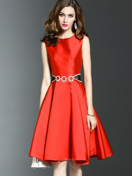 Ericdress Pleated Diamond Round Collar A Line Dress