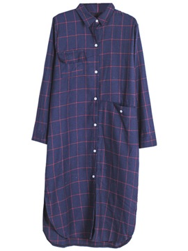Ericdress Plaid Mid-Length Oversized Blouse