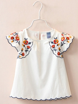 Ericdress Embroidery Ruffles Short Sleeve Girls Shirt