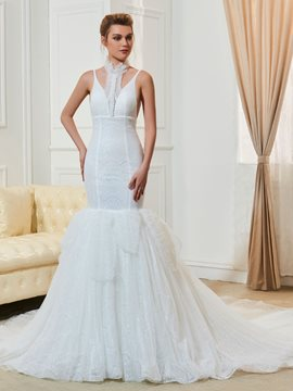 Ericdress Fancy Mermaid Lace Chapel Train Wedding Dress