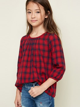 Ericdress Spring Plaid Scoop 3/4 Length Sleeves Girls Shirt