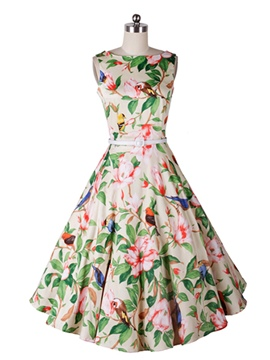 Ericdress Print Belt Expansion Vintage A Line Dress