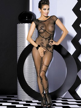 Ericdress Sexy Flower Cut-Out Short Sleeve Body Stocking