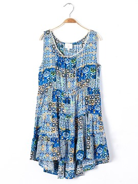 Ericdress Print Pleated High-Waist Sleeveless Dress
