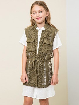 Ericdrsss Pocket Lace-Up Stand Collar Suspenders Girls Outerwear