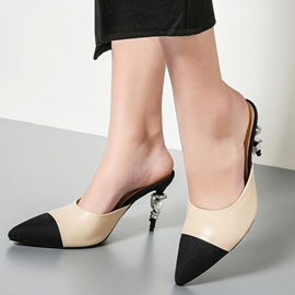 Ericdress Elegant Color Block Point Toe Mules Shoes
