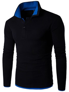Ericdress Long Sleeve Color Block Collar Casual Men's T-Shirt