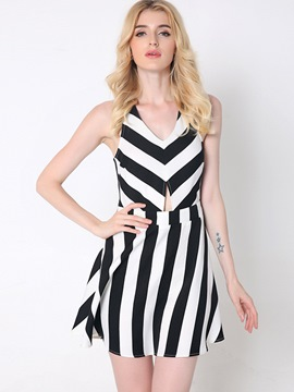 Ericdress Strip V-Neck Backless Cross Sexy Casual Dress