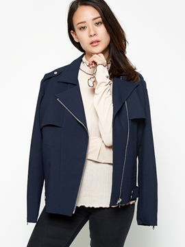 Ericdress Solid Color Asymmetric BF Style Jacket
