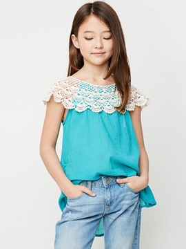 Ericdress Lace Color Block Sleeveless Girls T-Shirt