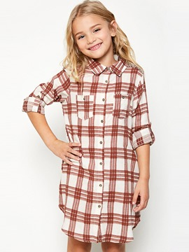 Ercdress Plaid Button Single-Breasted Knee-Length Dress