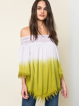Ericdress Slash Neck Gradient Tassel Blouse