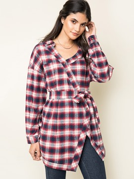 Ericdress Asymmetric Plaid Blouse